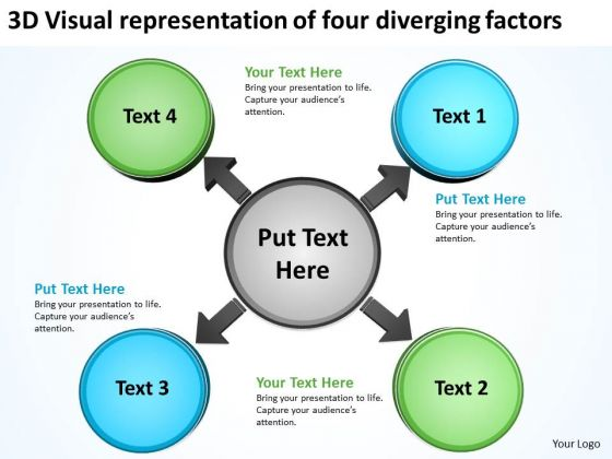Visual Representation Of Four Diverging Factors Arrows Chart Software PowerPoint Templates