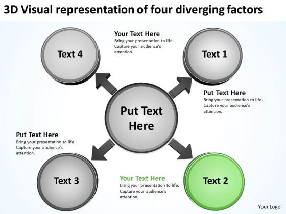Visual Representation Of Four Diverging Factors Circular Motion Diagram PowerPoint Templates