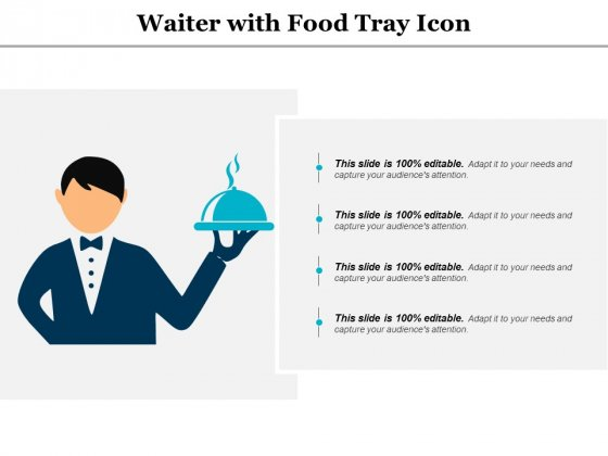 Waiter With Food Tray Icon Ppt PowerPoint Presentation Outline Demonstration