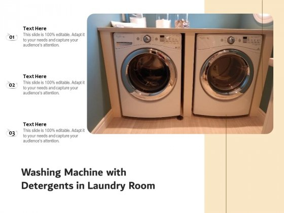 Washing Machine With Detergents In Laundry Room Ppt PowerPoint Presentation File Elements PDF