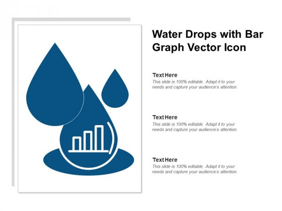 Water Drops With Bar Graph Vector Icon Ppt PowerPoint Presentation Slides Clipart Images