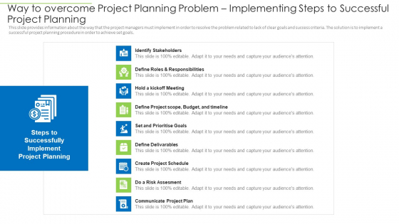 Way To Overcome Project Planning Problem Implementing Steps To Successful Project Planning Portrait PDF