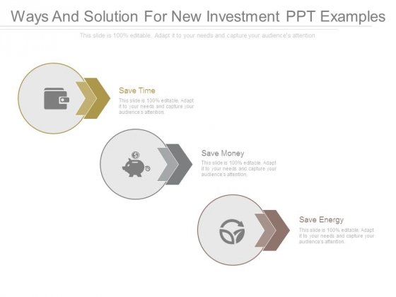 Ways And Solution For New Investment Ppt Examples