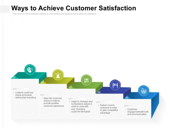 Ways To Achieve Customer Satisfaction Ppt PowerPoint Presentation File Design Templates PDF