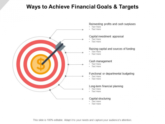 Ways To Achieve Financial Goals And Targets Ppt PowerPoint Presentation Icon Background Designs