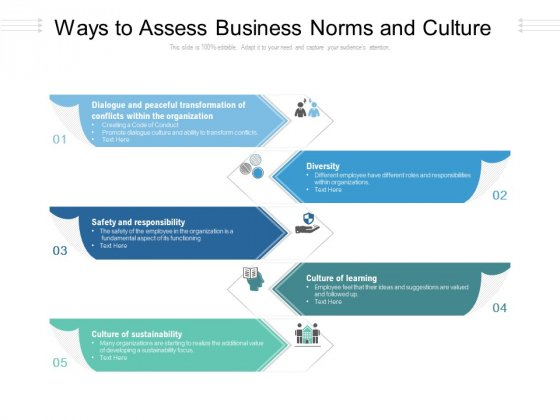Ways To Assess Business Norms And Culture Ppt PowerPoint Presentation Icon Styles PDF
