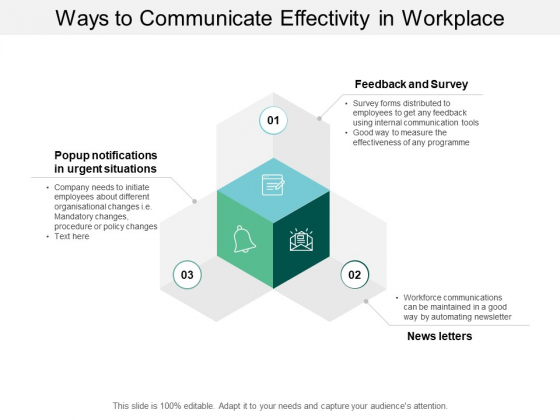 Ways To Communicate Effectivity In Workplace Ppt Powerpoint Presentation Layouts Deck