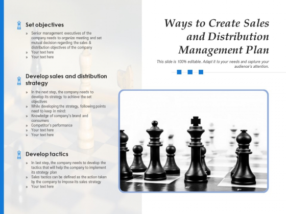 Ways To Create Sales And Distribution Management Plan Ppt PowerPoint Presentation Example 2015 PDF