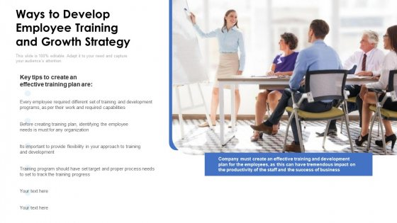 Ways To Develop Employee Training And Growth Strategy Ppt PowerPoint Presentation Gallery Diagrams PDF