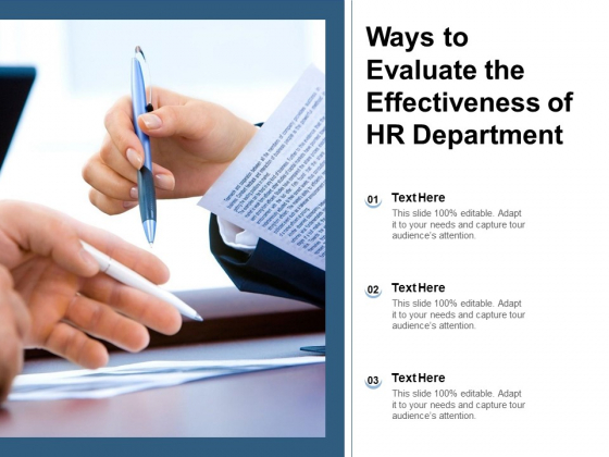 Ways To Evaluate The Effectiveness Of HR Department Ppt PowerPoint Presentation Gallery Introduction PDF
