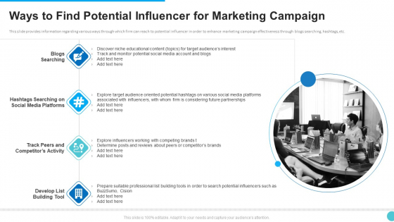Ways To Find Potential Influencer For Marketing Campaign Themes PDF