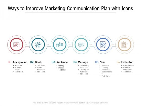 Ways To Improve Marketing Communication Plan With Icons Ppt PowerPoint Presentation Gallery Graphics Pictures