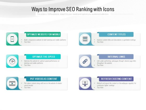 Ways To Improve SEO Ranking With Icons Ppt PowerPoint Presentation Styles Deck