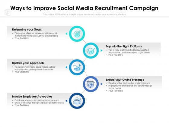 Ways To Improve Social Media Recruitment Campaign Ppt PowerPoint Presentation File Slide Download