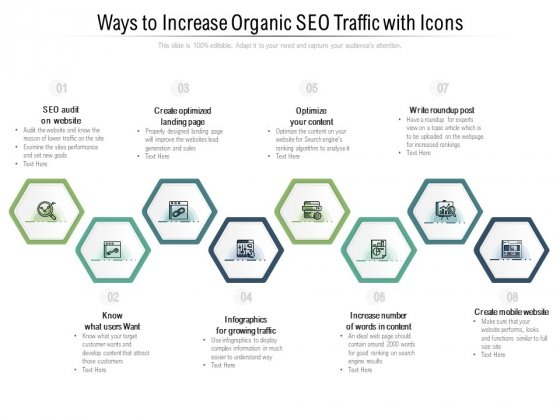 Ways To Increase Organic SEO Traffic With Icons Ppt PowerPoint Presentation File Background Images