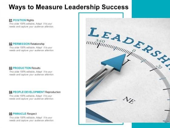 Ways To Measure Leadership Success Ppt PowerPoint Presentation Slides Portrait