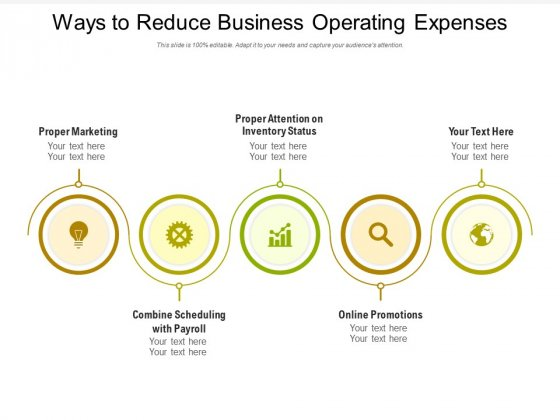 Ways To Reduce Business Operating Expenses Ppt PowerPoint Presentation Summary Slide PDF