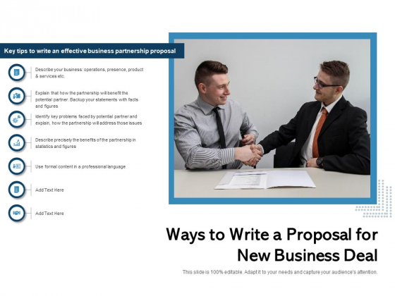 Ways_To_Write_A_Proposal_For_New_Business_Deal_Ppt_PowerPoint_Presentation_Styles_Template_PDF_Slide_1