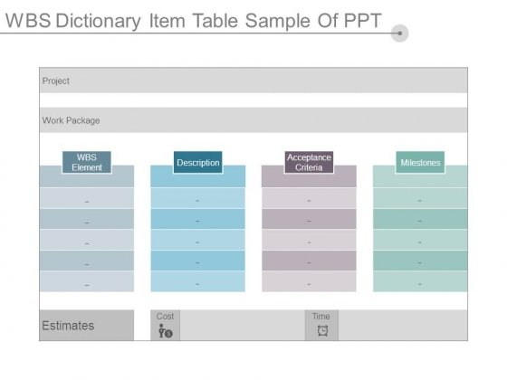wbs dictionary item table sample of ppt - powerpoint templates, Modern powerpoint