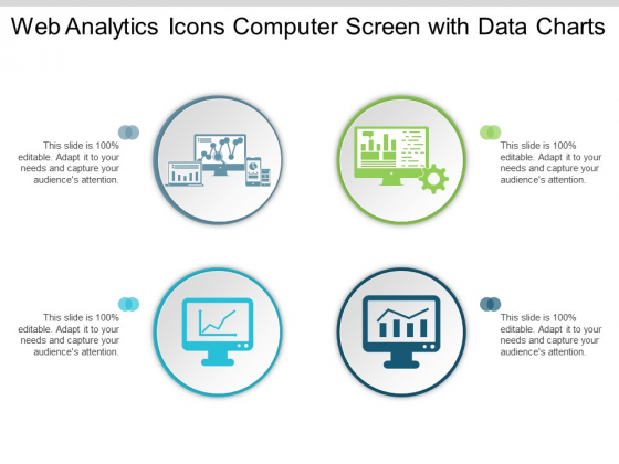 Web Analytics Icons Computer Screen With Data Charts Ppt PowerPoint Presentation Ideas Outline