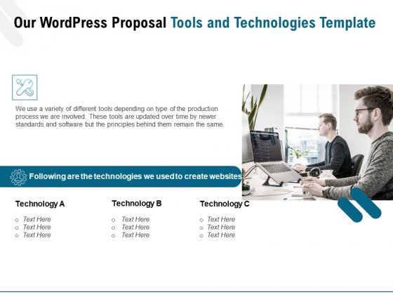 Web Based User Interface Our Wordpress Proposal Tools And Technologies Ppt Summary Example Introduction PDF