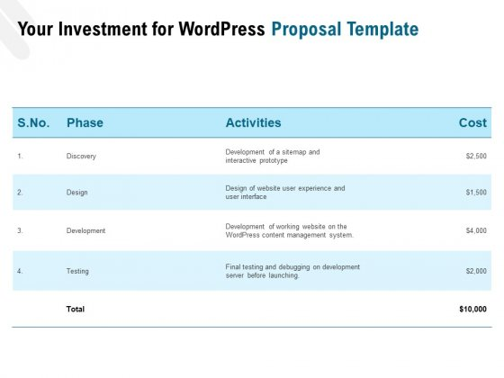 Web Based User Interface Your Investment For Wordpress Proposal Ppt Portfolio Show PDF