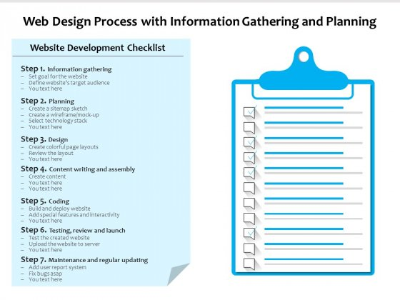 Web Design Process With Information Gathering And Planning Ppt PowerPoint Presentation File Inspiration PDF