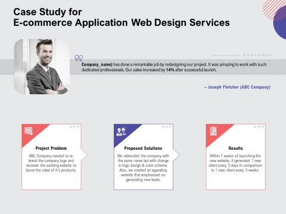 Web Design Services Proposal For Ecommerce Business Case Study For E Commerce Application Web Design Services Infographics PDF
