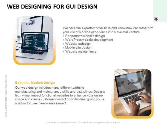 Web Designing For GUI Design Ppt PowerPoint Presentation Show PDF
