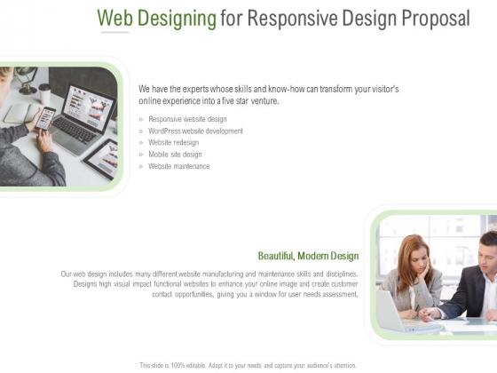 Web Designing For Responsive Design Proposal Ppt PowerPoint Presentation File Introduction PDF