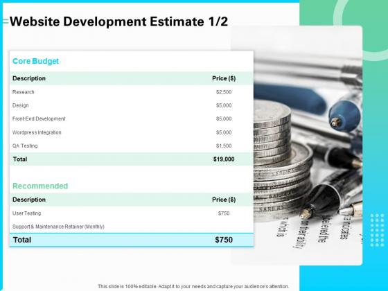 Web_Development_And_IT_Design_Website_Development_Estimate_Ppt_PowerPoint_Presentation_Professional_Diagrams_PDF_Slide_1