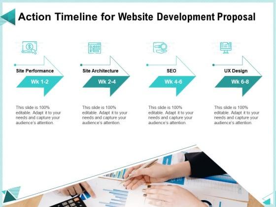 Web Development IT And Design Templates Action Timeline For Website Development Proposal Mockup PDF