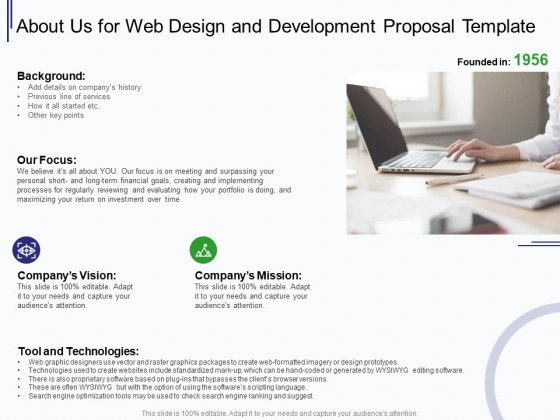 Web Development It And Design About Us For Web Design And Development Ppt Professional Slides Pdf Powerpoint Templates