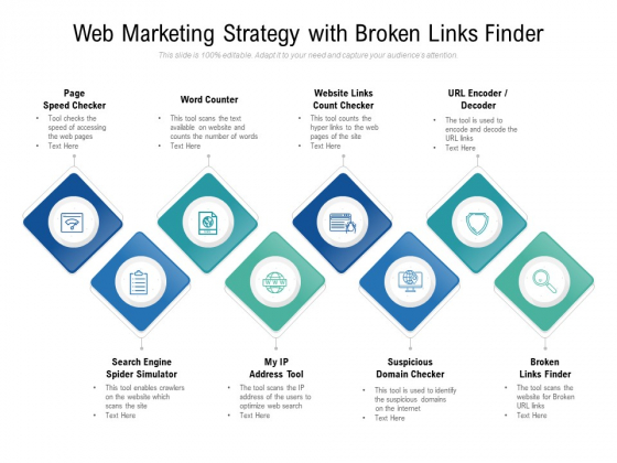 Web Marketing Strategy With Broken Links Finder Ppt PowerPoint Presentation Professional Vector