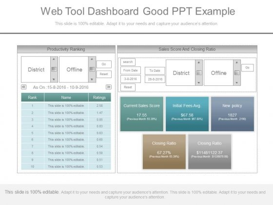 Web Tool Dashboard Good Ppt Example