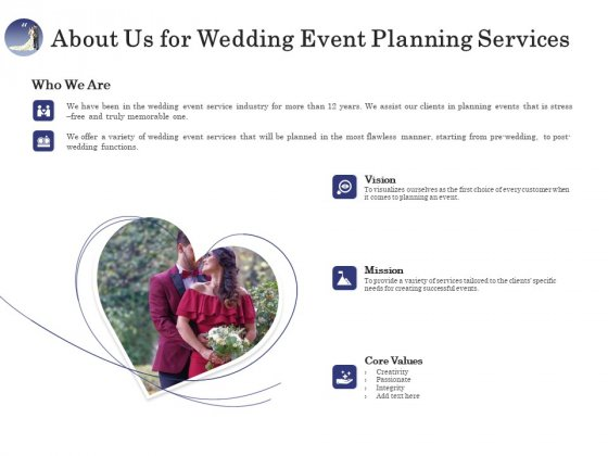 Wedding Affair Management About Us For Wedding Event Planning Services Guidelines PDF
