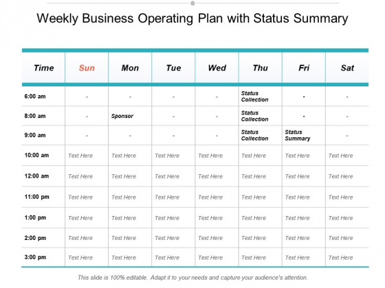 Weekly Business Operating Plan With Status Summary Ppt Powerpoint Presentation Pictures Designs Download