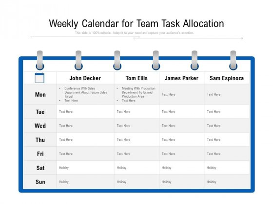 Weekly Calendar For Team Task Allocation Ppt PowerPoint Presentation Gallery Templates PDF