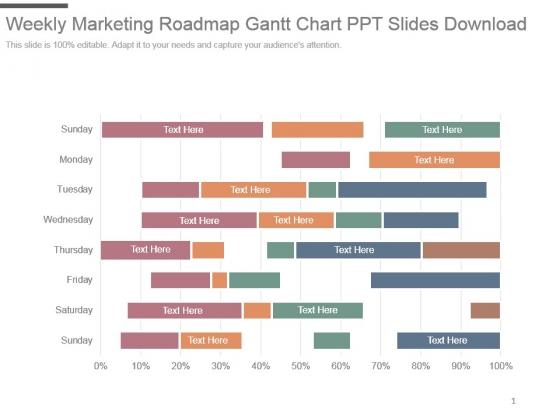 Weekly Marketing Roadmap Gantt Chart Ppt Slides Download