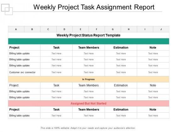 Weekly Project Task Assignment Report Ppt Powerpoint
