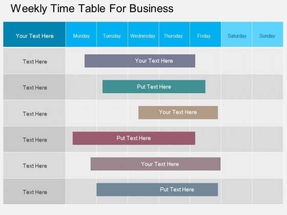 Weekly Time Table For Business Powerpoint Template