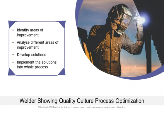 Welder Showing Quality Culture Process Optimization Ppt PowerPoint Presentation Outline Infographics PDF