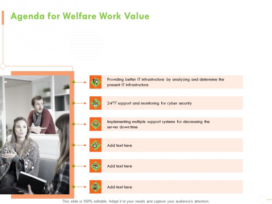 Welfare Work Value Agenda For Welfare Work Value Ppt Professional Show PDF