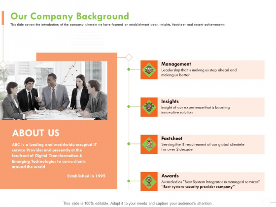 Welfare Work Value Our Company Background Ppt Show Designs Download PDF