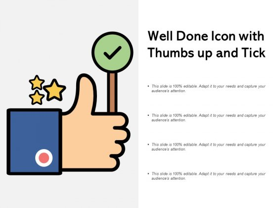 Well Done Icon With Thumbs Up And Tick Ppt PowerPoint Presentation Icon Structure