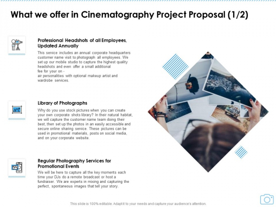 What We Offer In Cinematography Project Proposal Events Ppt Model Graphics Design PDF