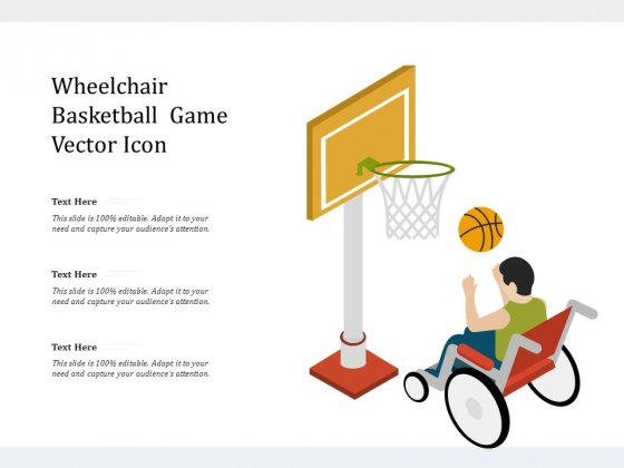 Wheelchair Basketball Game Vector Icon Ppt PowerPoint Presentation Visual Aids Infographics PDF