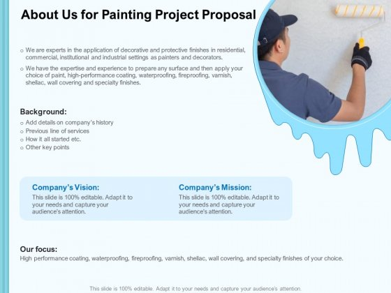 Whitewash Service About Us For Painting Project Proposal Ppt Styles Deck PDF