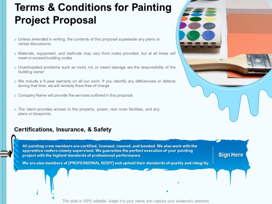 Whitewash Service Terms And Conditions For Painting Project Proposal Ppt Outline Structure PDF