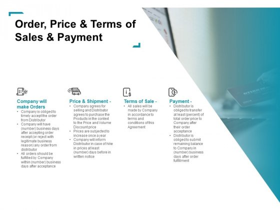 Wholeseller And Trader Contract Proposal Order Price And Terms Of Sales And Payment Ideas PDF